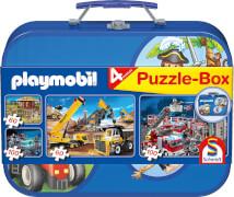 Schmidt Spiele Puzzle Playmobil im Metallkoffer 2 x 60 Teile, 2 x 100 Teile