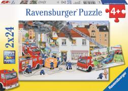 Ravensburger 88515 Puzzle Bei der Feuerwehr, 2x24 Teile
