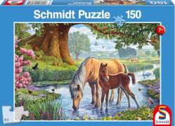 Schmidt Puzzle 56161 Pferde am Bach, 150 Teile, ab 7 Jahre