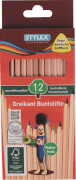 Stylex 12 lange Buntstifte Naturholz aus FSC-Holz