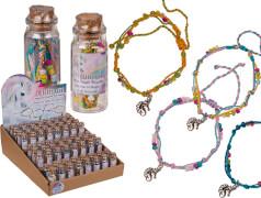 Armband mit Glasperlen & Metall-Anhänger Einhorn