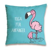 NICI Flamingo YOGA FÜR Baumwollkissen, ca. 37x37 cm