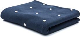 Strickdecke dunkelblau mit weißen Tupfen 80 x 100 cm